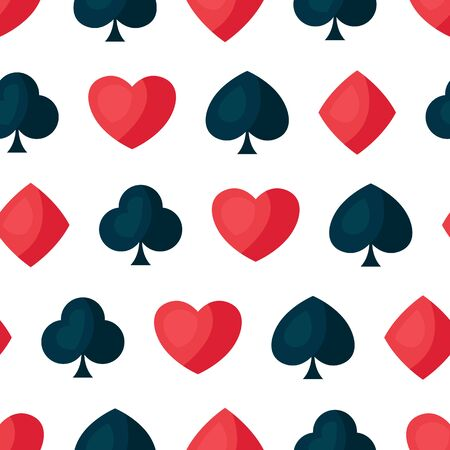 Seamless pattern with four playing cards symbols. On-board game or gambling for casino.