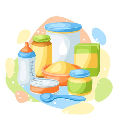 Background with baby food items. Healthy child feeding.