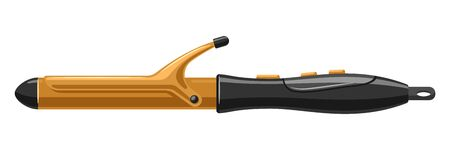 Barber illustration of professional hair curling iron. Hairdressing salon item.