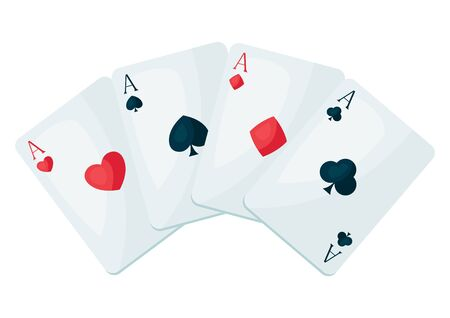 Illustration of four aces playing cards suit. On-board game or gambling for casino. Vettoriali