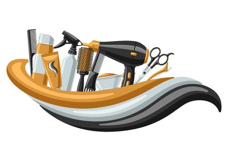 Barbershop banner with professional hairdressing tools. Haircutting salon background. Illustration