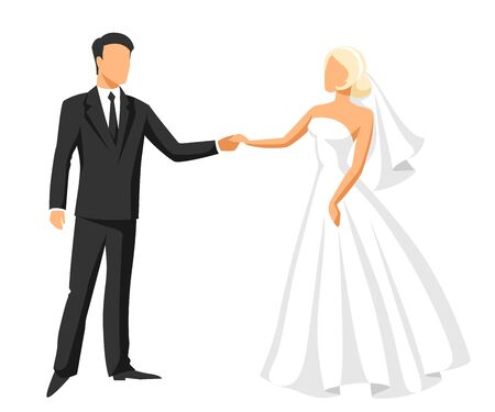 Wedding illustration of bride and groom. Married cute couple. 矢量图像