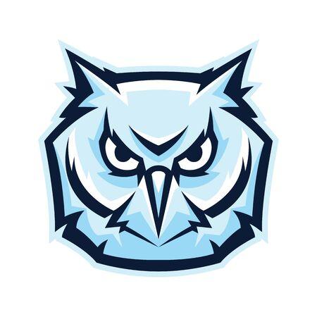 Mascot stylized owl head. Illustration or icon of wild bird.