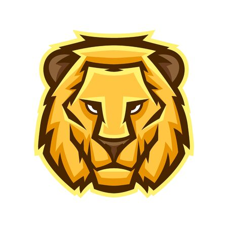 Mascot stylized lion head. Illustration or icon of wild animal.