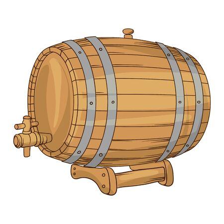 Illustration of wooden barrel for wine or beer. Image for pubs and restaurants. Illustration