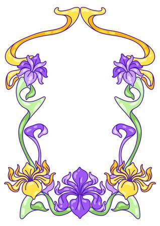 Frame with iris flowers. Art Nouveau vintage style. Natural decorative plants.