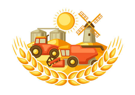 Harvesting background. Combine harvester, tractor and granary on wheat field. Agricultural illustration farm rural landscape. Vector Illustratie