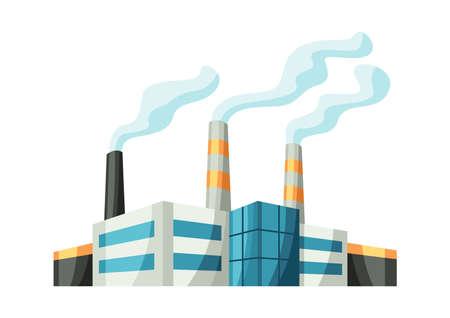Illustration of factory or industrial building. Urban manufactory landscape of construction. Vector Illustratie