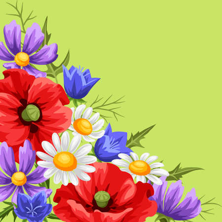 Background with summer flowers. Beautiful realistic poppies, daisies and bells.