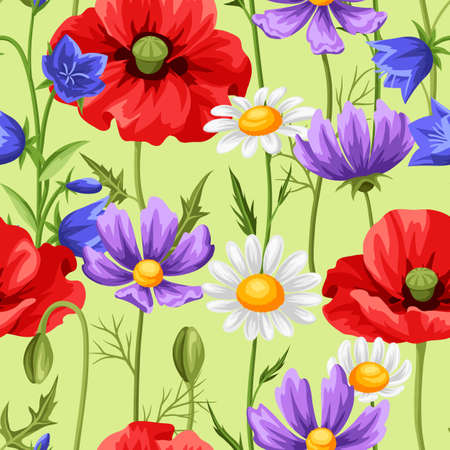 Seamless pattern with summer flowers. Beautiful realistic poppies, daisies and bells. 矢量图像
