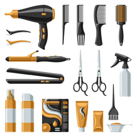 Barbershop set of professional hairdressing tools. Haircutting salon items.
