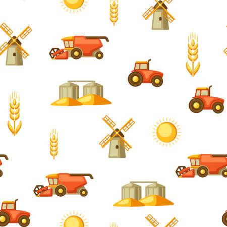 Agricultural seamless pattern with harvesting items. Combine harvester, tractor and granary. Vector Illustratie