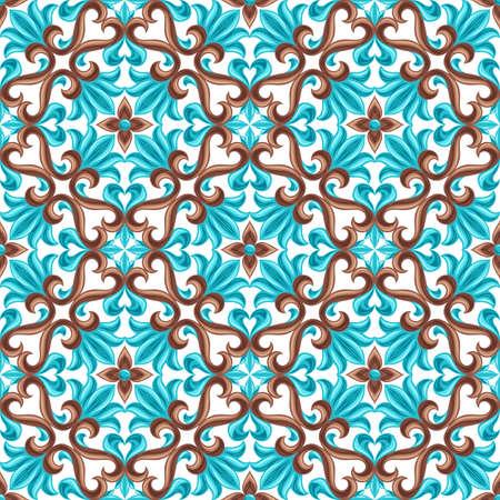 Italian ceramic tile seamless pattern. Mediterranean porcelain pottery. Ethnic folk ornament. Mexican talavera, portuguese azulejo or spanish majolica.