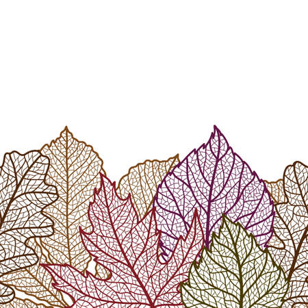 Seamless floral pattern with autumn foliage. Background of falling leaves.