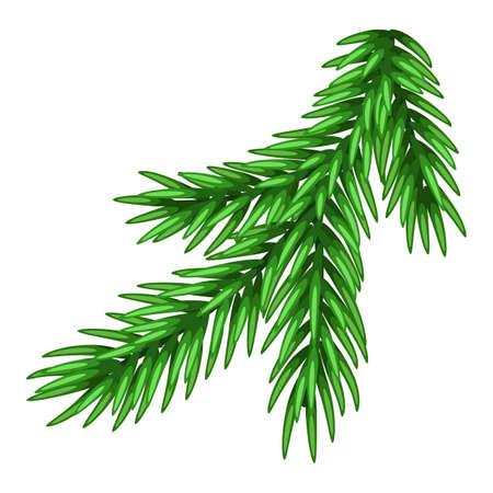 Illustration of spruce branch. Merry Christmas or Happy New Year decoration. Vektorové ilustrace
