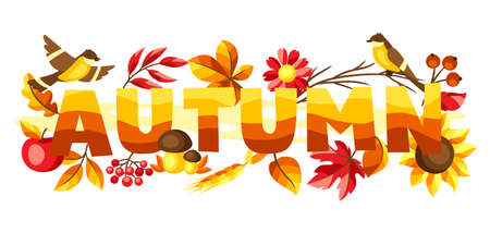Autumn background with seasonal leaves and items. Illustration of foliage and flowers.