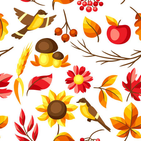 Autumn seamless pattern with seasonal leaves and items. Background of foliage and flowers. Ilustração