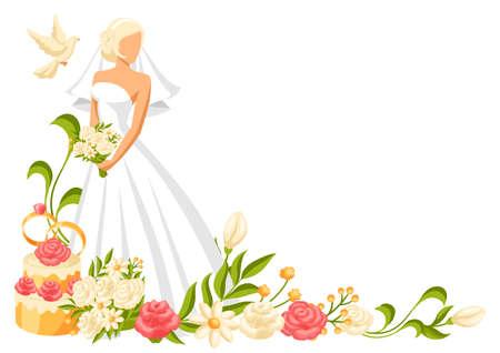 Wedding illustration of beautiful bride. Pretty girl in white dress.