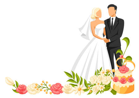 Wedding illustration of bride and groom. Married cute couple. Stock Illustratie