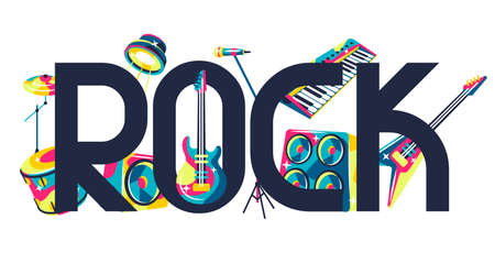 Background with musical instruments. Music party or rock concert illustration. Иллюстрация