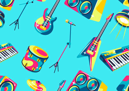 Seamless pattern with musical instruments. Music party or rock concert background. Иллюстрация
