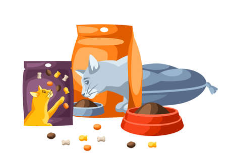 Background with various cat items. Illustration of food and couch.