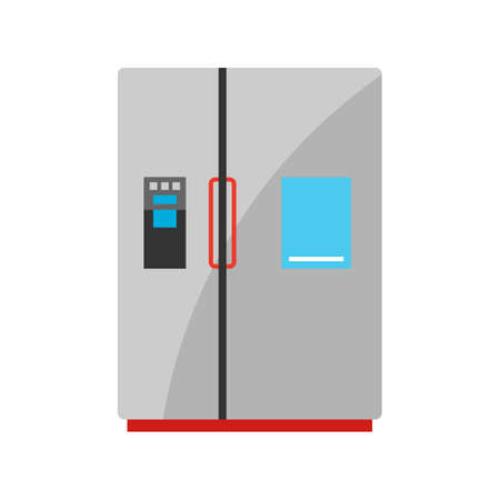 Stylized illustration of refrigerator. Home appliance or household item for advertising and shopping.