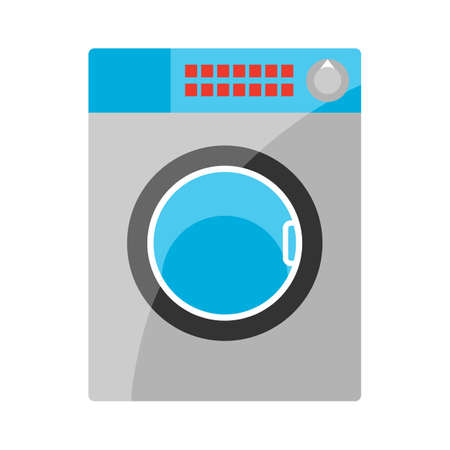 Stylized illustration of washing machine. Home appliance or household item for advertising and shopping.