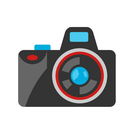 Stylized illustration of camera. Home appliance or household item for advertising and shopping.