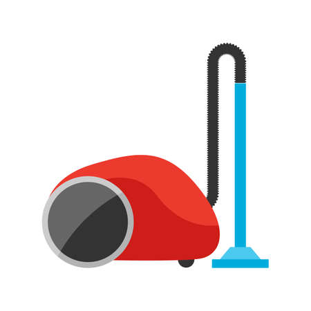 Stylized illustration of vacuum cleaner. Home appliance or household item for advertising and shopping.