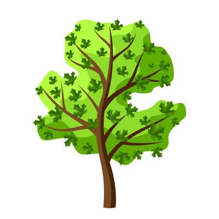 Summer tree with green leaves. Natural seasonal decorative illustration.