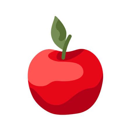 Cartoon illustration of ripe apple. Autumn harvest fruit. 向量圖像