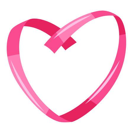 Decorative pink ribbon in heart shape. Happy Valentine Day decoration. Vektorové ilustrace