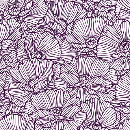 Seamless pattern with poppies. Beautiful decorative stylized summer flowers. Vetores