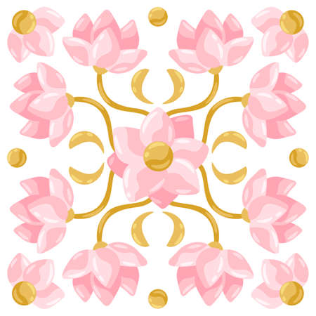 Ceramic tile pattern with lotus. Stylized image of water lily in pink and gold. Illusztráció