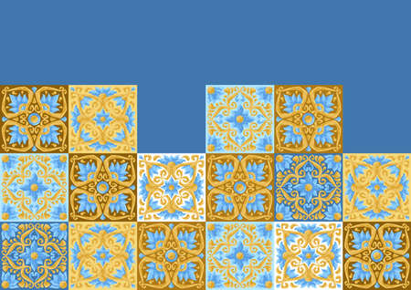 Ceramic tile pattern with flowers. Stylized image of water lily in pink and gold. Illusztráció