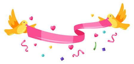 Happy Valentine Day ribbon with birds. Holiday illustration with romantic items and love symbols. Ilustração