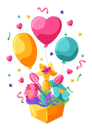 Happy Valentine Day greeting card. Holiday background with flowers and balloons.