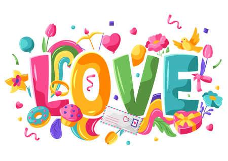 Happy Valentine Day greeting card. Holiday illustration with romantic items and love symbols. Ilustração