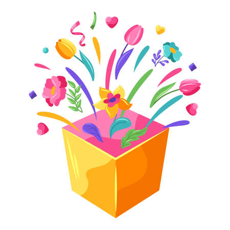 Happy Valentine Day box with splashes. Holiday illustration with romantic items and love symbols.