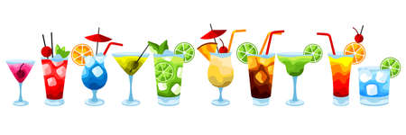 Alcohol cocktails icon set. Stylized image of alcoholic beverages and drinks.