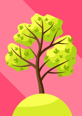 Spring tree with green leaves. Natural seasonal decorative illustration. Ilustracja