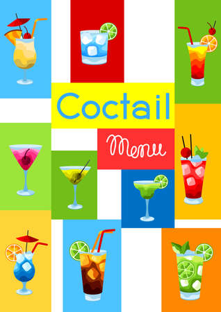 Background with alcohol cocktails. Stylized image of alcoholic beverages and drinks. Illustration