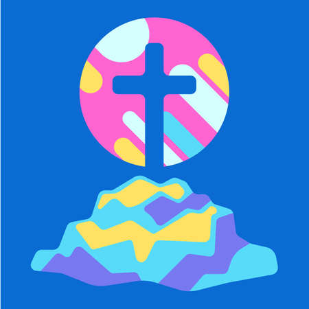 Happy Easter illustration with cross. Religious symbol of faith.