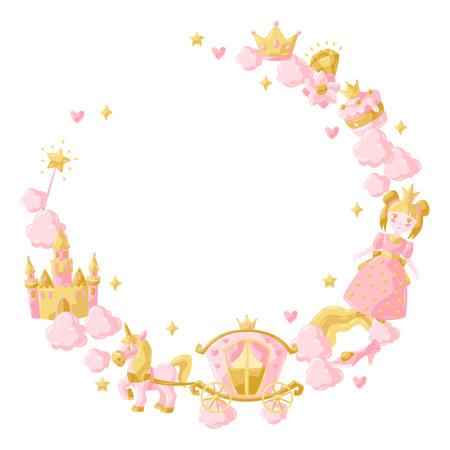 Princess party items frame. Fairy kingdom and magic world illustration. Decoration for children celebration.