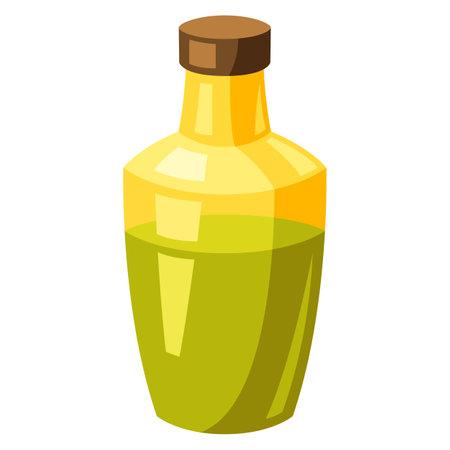 Illustration of stylized olive oil. Bottle icon. Food product.