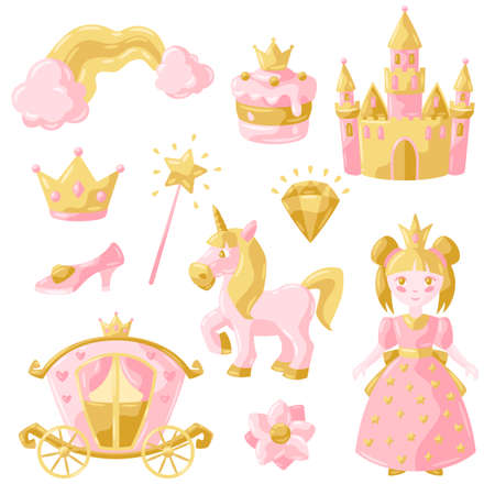 Princess party items set. Fairy kingdom and magic world illustration. Decoration for children celebration. Vektoros illusztráció