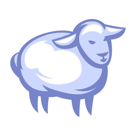 Illustration of stylized sheep. Icon, emblem or label for natural products.