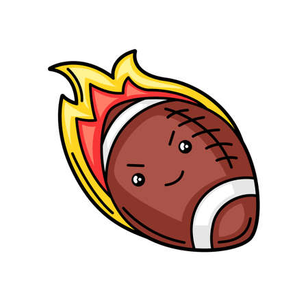 Kawaii illustration of burning rugby ball. Cute funny sport characters.