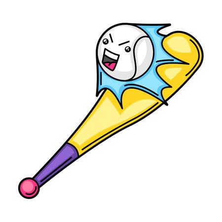 Kawaii illustration of baseball bat and ball. Cute funny sport characters.